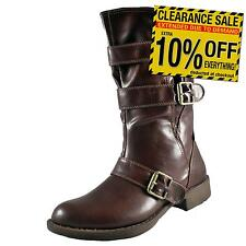Manfield Womens Three Buckle Biker Boots Celebrity Fashion Brown * AUTHENTIC *