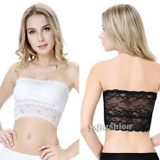 Sexy Women Cotton Lace Floral Cropped Bra Ladies Corset Bustier Bodycon Tube Top