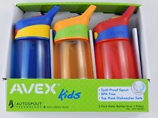 Kids Drink Water Bottle Avex Autospout Flask Spill Proof Plastic BPA Free 3 pack