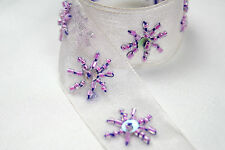 "Lily 1"" Organza Lilac Ribbon with Purple Glass Bugle Beads Sequin Trim Lace"