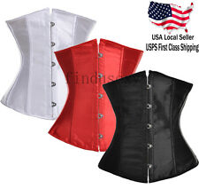 Women sexy Boned Lace Up Satin underbust waist Training Corset Bustier shaper