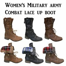 WOMEN'S BOOT FOLD OVER PLAID MILITARY ARMY COMBAT LACE UP & ZIPPER SIZE 5.5 ~ 10