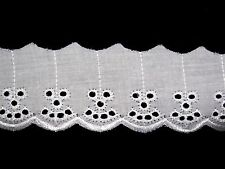 """Lily 2"""" White Blue Ivory Poly Cotton Embroidery Eyelet Lace Trim Wholesale by yd"""