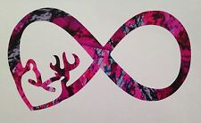"Camo Infinity Doe Buck Heart Vinyl Decal 5"" Muddy Pink Country Girl Browning"