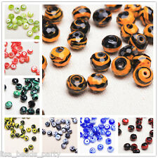 10pcs 10mm Faceted Rondelle Stripes Loose Lampwork Glass Spacer Beads Charm Bulk