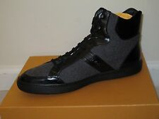 Nib TOD'S Black Patent Leather Gray Wool Lace Up Boots 7.5 8 10.5 11
