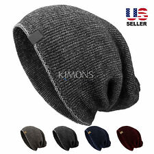 Woven Knit Slouchy Baggy Beanie Oversize Winter Hat Ski Slouchy Cap Skull