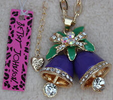 Betsey Johnson Enamel Christmas Bells Pendant Necklace Jewelry