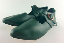 Medieval latchet/ t-bar leather court shoes, reenactment, LARP, living history