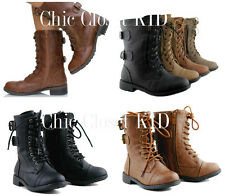 Little Girls Toddler Combat Mid Calf Millitary Ankle Lace Dress Up Boots Booties