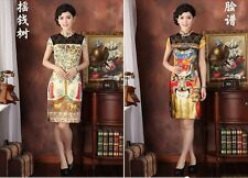 gold fashion Chinese Silk Women's evening Dress/CheongSam 6.8.10.12.14.16.
