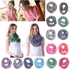 Women Double Infinity Loop Scarves Soft Stripe Circle Scarf Neck Wrap Cowl Shawl