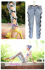 Sexy Punk Side Bow Hollow Low Rise Women Jeans Trousers Pencil Pants Leggings
