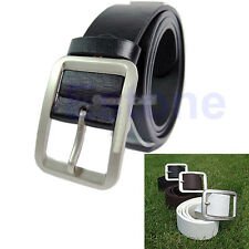 New Fashion  Mens Leatherette Solid Premium Textured Metal Buckle Belt Waistband