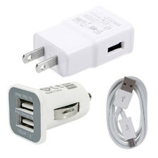 Wall Charger +Dual USB Car Charger +Micro USB Data Cable for Samsung LG HTC Sony