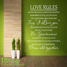 LOVE RULES WALL STICKER QUOTE - BEDROOM LOUNGE HOME WALL ART DECAL X295