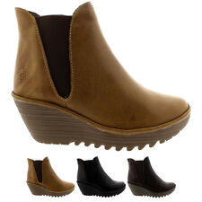 Ladies Fly London Yoss Pull On Wedge Heel Leather Winter Chelsea Boot All Sizes