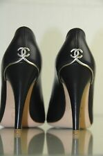 New Chanel Black Leather CC Logo Heels Pumps Pep toe Shoes with Dust Bag 36.5