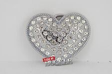 "Diamante Chrome Heart belt buckle -Available with Belts - Fits 1.5"" Belts"