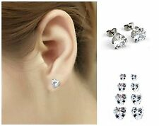 """316L Surgical Stainless Steel """"HEART"""" CZ STUD EARRINGS–4mm to 10mm-w/ Gift Pouch"""