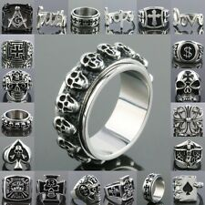 Trendy Heavy Faith Freemasonry Skull 13 Cross Spade Stainless Steel Finger Ring