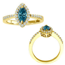 0.75 Carat Blue Marquise Diamond Solitaire Single Halo Bridal Ring Yellow Gold