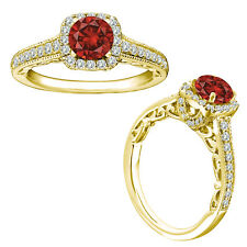 1 Carat Red Round Diamond Solitaire Wedding Fancy Halo Ring 14K Yellow Gold