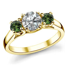1 TCW White Green Diamond Three Stone Solitaire Engagement Ring 14K Yellow Gold