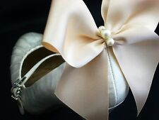 Pearl Ivory Satin Bow Shoe Clips 4 Shoes White Satin Bridal Shoes