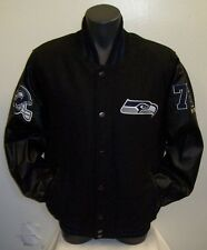 SEATTLE SEAHAWKS Wool Body Jacket with Faux Leather Sleeves Jacket M L XL 2X