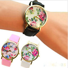 Fashion Smashing Faux Leather Geneva Rose Flower Watch Dress Quartz Watches Cool