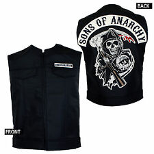 Licensed SONS OF ANARCHY Patch Top Rocker Faux Leather Vest Cut S-2XL NEW