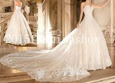 New 2015White/Ivory Sweetheart A line Wedding Dresses Chapel Train Bridal Gowns