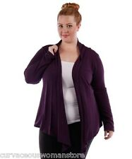 NEW 4X 5X 6X Womens Yummy Plus Purple Plum High Low Open Front Cardigan Sweater