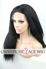 Kinky Straight Brazilian Human Hair Full Lace Wigs Black Women Italian Yaki Wig