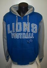 "Detroit Lions ""LIONS FOOTBALL"" Hooded Jacket Full Zip Hoody Sewn Logos M L XL 2X"