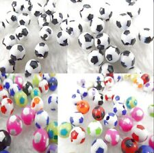New Black & White Multicolor Acrylic Football Charm Round Loose Spacer Beads 8mm