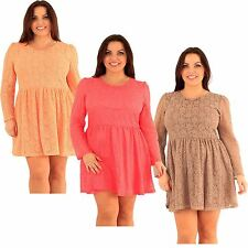 New Womens Plus Size Floral Lace Puff Long Sleeve Skater Going Out Dress 14-20