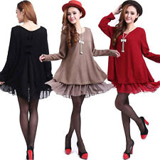 Women Ladies Casual Long Sleeve Knit Tunic Tops Mini Dress Shirt Plus Size