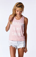 """Shopping Is My Cardio"" Print Screen Graphic Rayon Spandex Crop Tank"