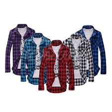 Mens Slim Fit Casual & Dress Plaid Check Shirt Korean Style Blue Red Black New