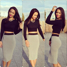 Womens Ladies Celeb Long Sleeve Bodycon Outfit Crop Top & Hip Skirt Two Piece