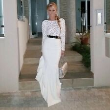 Women Sexy Long Sleeve Lace Prom Ball Cocktail Party Maxi Dress Evening Gown