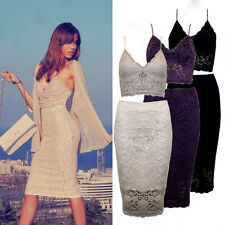 Women Sexy Lace Bralet Bustier Crop Top Skirt Two Piece Party Dress Set 8-14
