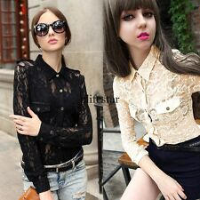 New Womens Lapel Button Down Lace Shirt Blouse Casual Long Sleeve Tops LM