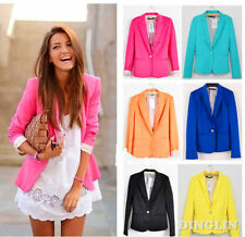 Candy Color Womens Ladies One Button Slim Office Casual Blazer Suit Jacket Coat