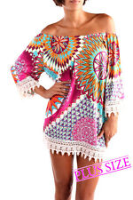 Plus Size R Rouge Multi Color Poly Lace Bell Sleeve Tunic Blouse Boho 1XL 2X 3X