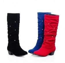 Fashion Ladies Winter New Faux Suede Diamante Block Heel Pull On Knew High Boots