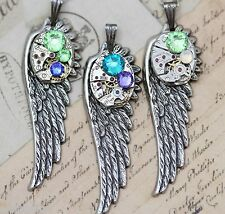 Mothers Necklace Custom Made Personalized 1 2 3 Angel Wing Birthstones Steampunk