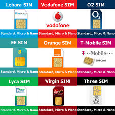 SIM Cards STD, Micro Nano For Vodafone O2 T-Mobile Orange EE Three 3 Lebara Lyca